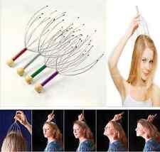 1PC Head Neck Scalp Massager Massage Tool Wood Handle Stress Relax 12 Heads J6P8