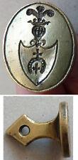Sceau cachet seal en bronze 18e siècle avec armoiries blason croix