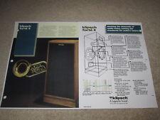 Klipsch Forte II Speaker Ad, 1989, 2 pgs, Article,Specs