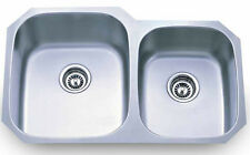Dowell 6D001-3220T 16 Gauge Undermount Double Bowl SS Kitchen Sink w STRAINERS