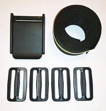 """Weight Belt Set - 2"""" Webbing (60""""/5ft), 3-Slot Plastic Buckle, & 4x Belt Slides"""