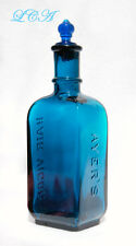 BEAUTIFUL antique PEACOCK BLUE Ayer's Hair Vigor BOTTLE w/ GLASS stopper