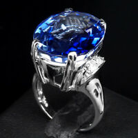 AA VIOLET BLUE TANZANITE RING OVAL 25.60 CT. SAPPHIRE 925 STERLING SILVER SZ 7