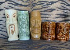 Tiki Mug Set Of 5 Unmarked