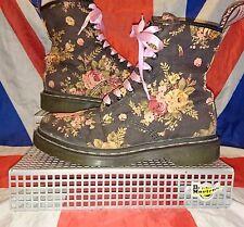 Vegan*Black Pink Canvas Floral Dr Doc Martens*Vintage Victorian Flowers*Grunge*6
