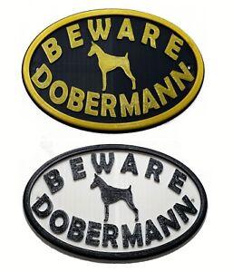 Dobermann & Motif Beware Dog Sign - House Garden Plaque