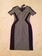 RRP £45 M&S Collection Size 8 Reg Ladies Fitted Lined Dress Black Grey Wedding