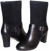 "✿ HUSH PUPPIES Waterproof Black Premium Leather 3"" Heel Zip Boots 9 W NEW! L@@K!"