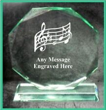 GLASS MUSIC 10CM OCTAGON AWARD TROPHY GA1034 ENGRAVED PERSONALISED