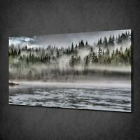 LAKESIDE FOREST MISTY LANDSCAPE CANVAS WALL ART PRINT PICTURE READY TO HANG