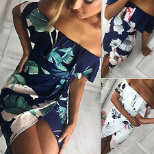 AU Womens Off Shoulder Beach Mini Dress Floral Print Causal Strapless Dress 6-14