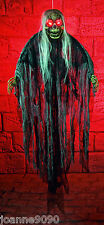 HALLOWEEN HANGING ZOMBIE GHOUL SKELETON DECORATION WITH LIGHT UP EYES AND SOUND