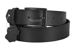 Men's Genuine Real Leather Black Matt Belt 100% Soft Cowhide Causal &Formal Belt
