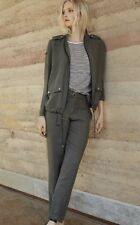 AMS PURE gorgeous Khaki Linen Silk Jacket Size UK AU 12-14 US 10