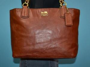 COACH Brown Leather MADISON Tote CHAIN Shopper Carryall Purse Shoulder Bag 20466