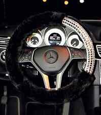 "Luxury Bling Bling Rhinestone Black Plush Wool Car Steering Wheel Cover 38CM 15"""
