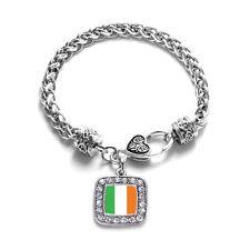 Inspired Silver Ireland Flag Classic Braided Charm Bracelet