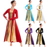 Women's Praise Dancewear Long Sleeve Full Length Liturgical Lyrical Tunic Dress