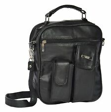 Mens Real Black Leather Handbag Soft Classic Casual Mobile Money Travel Bag RON