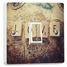 Vintage Love Map Globe Light Switch Cover Sticker