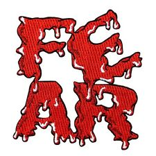 "Blood Soaked ""FEAR"" Letters Patch Kreepsville Dark Horror Craft Iron-On Applique"