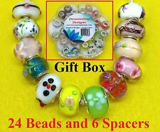 925 Sterling Silver 24 Authentic Murano Glass Beads & 6 Spacers With Gift Box