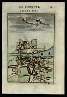 Dublin Ireland City plan 1683 Mallet hand colored map