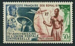 Fr Somali Coast C18, MH. UPU-75, 1949. French Colonials, Globe, Plane.