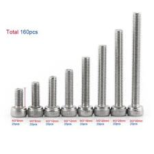160pcs M3 304 Stainless Steel Cap Head Hex Socket Screws Bolt Nut Assortment Kit