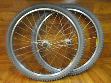 "VINTAGE MAVIC 220 32H EYELETED BLUE ANODIZED 26"" MTB WHEEL SET 26x1.95 TIRES"