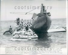 1955 Escape From Plane on Life Raft at Sea Test Norfolk VA Press Photo