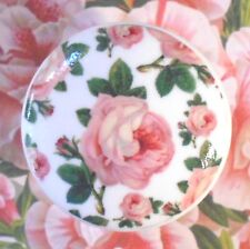 French Roses Wallpaper Ceramic Knob cabinet Drawer Pull bedroom chic room bath