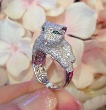 Pave Diamond Panther Ring with 4.41 ct in 18k White Gold - HM1285