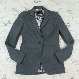 Banana Republic Italian Chambray fitted NY theme lining blazer jacket fall sz 0