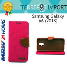 Funda Libro Rosa Fucsia y Marron para Samsung Galaxy A6 (2018) Canvas Book Case
