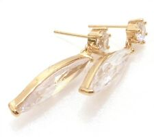 Women Vintage Clear Cubic Zirconia 18K Yellow Gold Plated Big Dangle Earrings