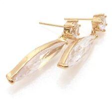 De mujer Vintage Zirconia Cúbica Transparente 18 CT Oro Amarillo Grande