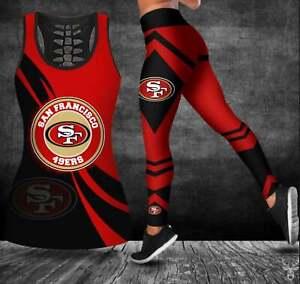 San Francisco 49ers Women's Tank Top Leggings 2PCS High Waist Stretch Yoga Pants