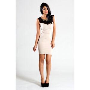 Sokey & Soka Cream Bodycon Embellished Detail Dress, Size Large