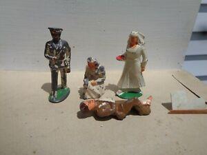 Manoil Barclay Medical Doctor Nurse wounded soldier lot vintage lead toys, JJ