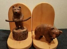 Bookends, with carved wooden bears by James Lanz, Hendersonville, Nc