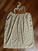 Vintage Half Apron Mustard Black White Brown Stars Geometric Print L Full Length