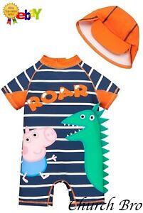 Peppa Pig Boys George Pig 2 Piece Stripe Dinosaur All In One Swim SPF40 Hat Set