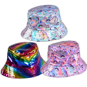 Holographic Bucket Hats: Festival Rave Fashion Party Techno 90s Pink Rainbow Hat