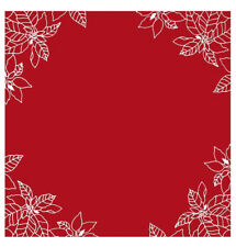 Heritage Lace 34 x 34 Square Red Poinsettia Table Topper, Embroidered and Hemmed