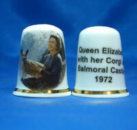 Birchcroft China Thimble --  H M Queen Elizabeth & Corgi 1972  with Free Box