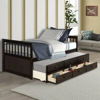 Captain's Bed frame Twin Daybed w/Trundle Bed and 3 Storage Drawers Espresso