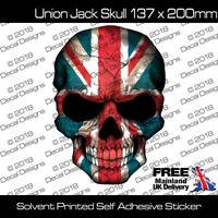 UNION JACK SKULL BRITISH GB FLAG VINYL STICKER CAR BIKE GUITAR GRAPHIC FREE P&P