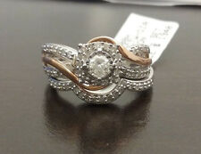 White Rose Gold Halo VintageStyle Round Diamonds Bridal Set Wedding Ring Band