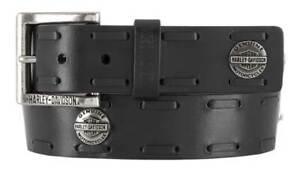 Harley-Davidson Men's Maverick B&S Genuine Leather Belt w/ Antique Nickel Buckle